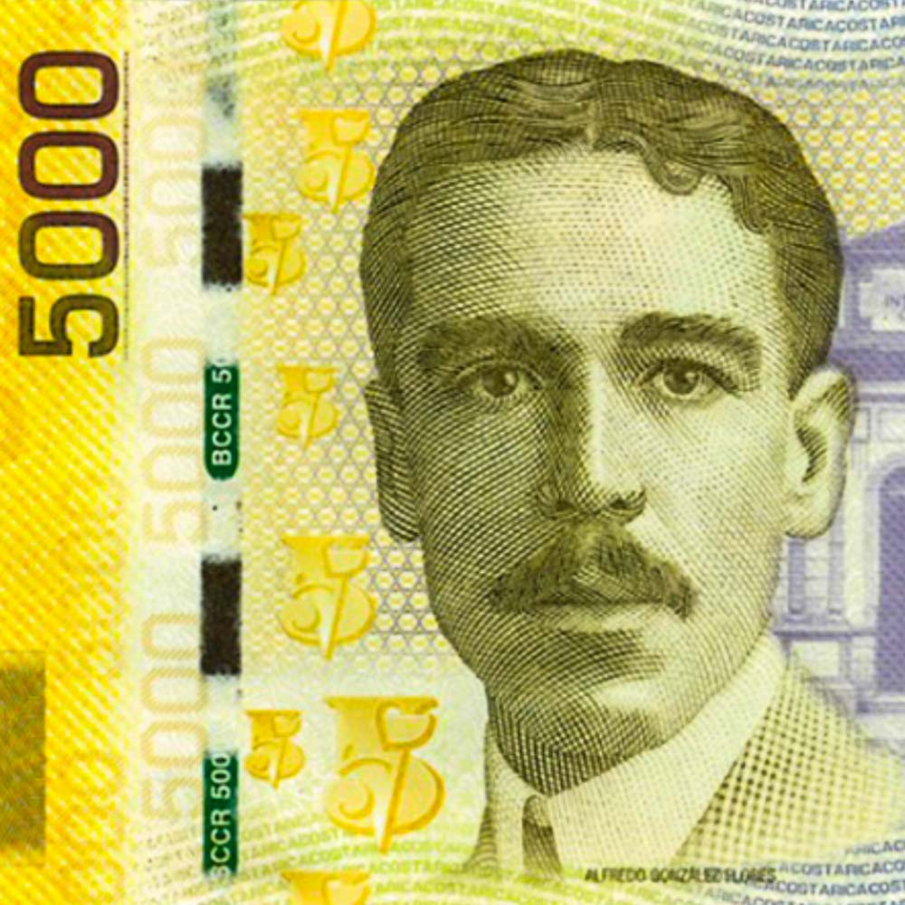 Alfredo González Flores was selected by the two most voted for candidates in the 1913 to be sworn in as president for the constitutional term 1914-1918. His portrait is on the five thousand colones bill (roughly ten dollars at 2018 exchange rates).