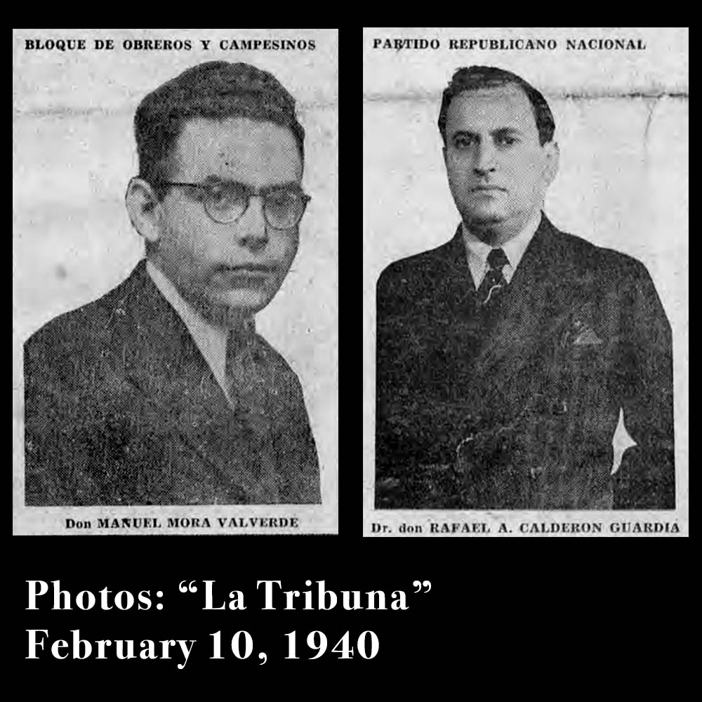 Photos of Communist Leader  Manuel Mora Valverde  and  Dr. Calderón Guardia  leading up to the Presidential Election held on February 11, 1940.