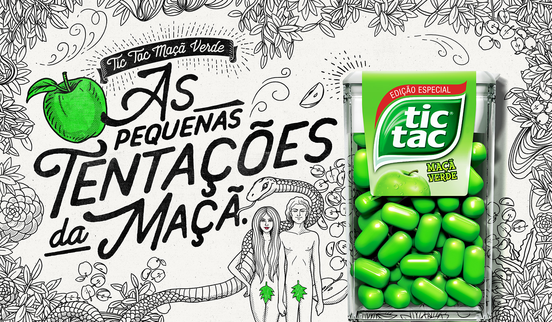 Text:  Tic Tac Green Apple. The little temptations of the apple.