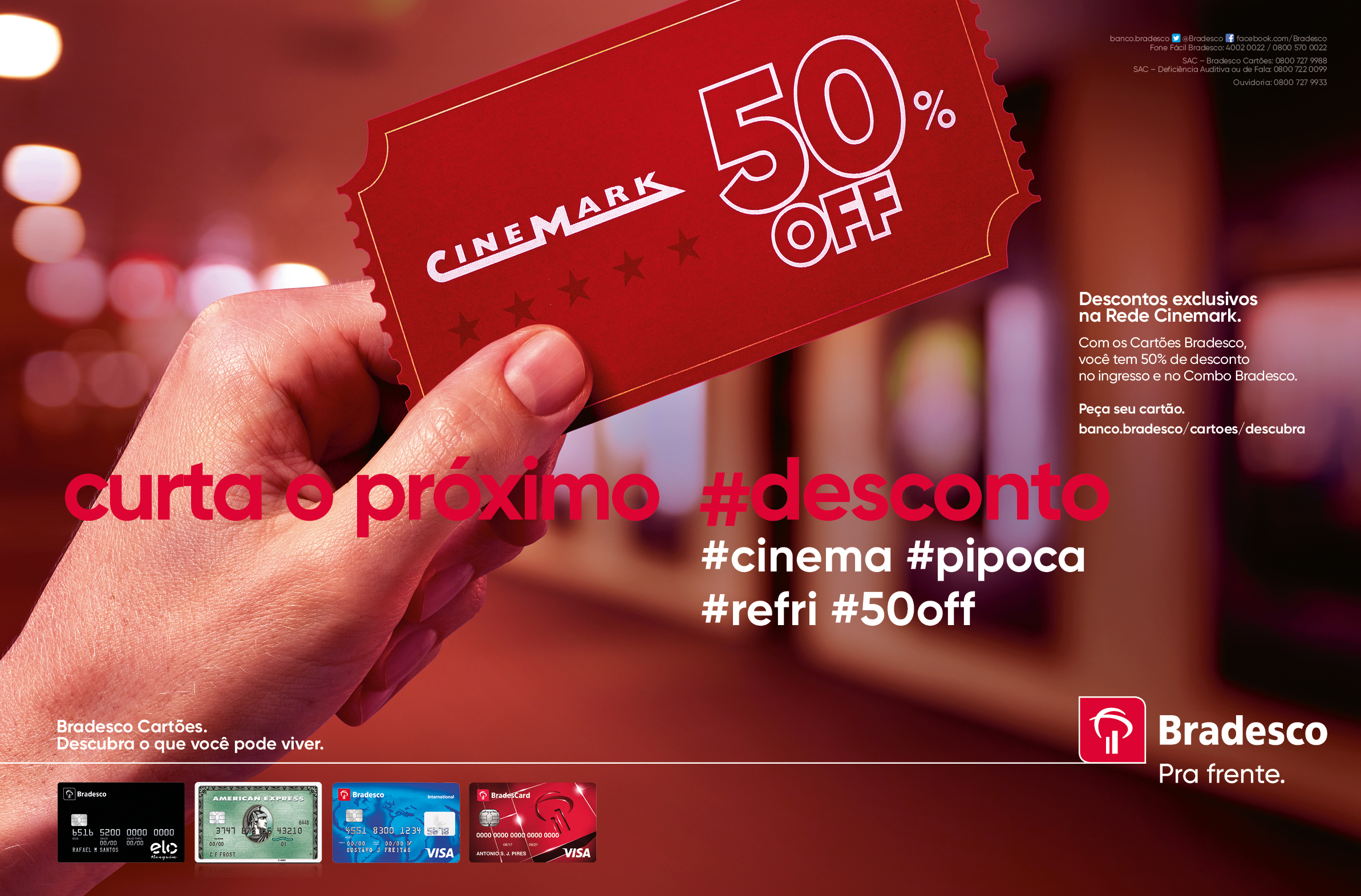 Copy:  Enjoy the next discount. #cinema #popcorn #soda #50%off
