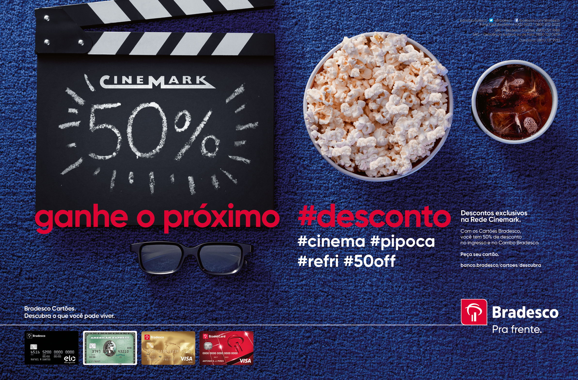 Copy:  Get the next discount.. #cinema #popcorn #soda #50%off
