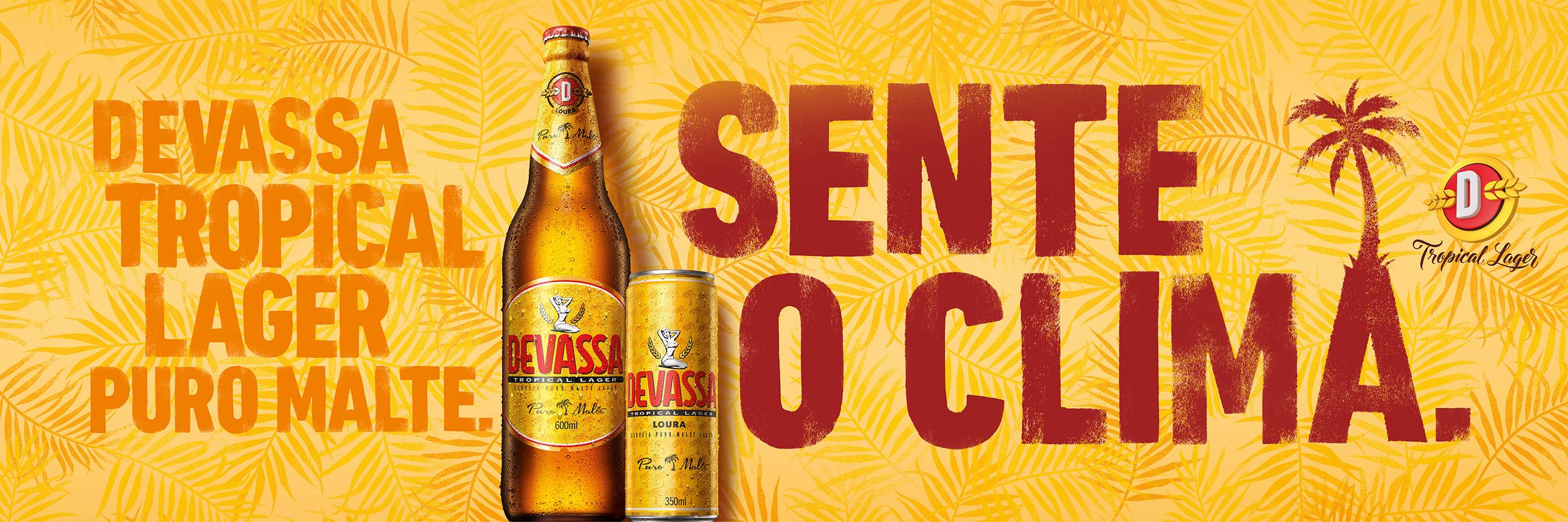 Copy:  Devassa tropical pure malt. Feels the sensation.