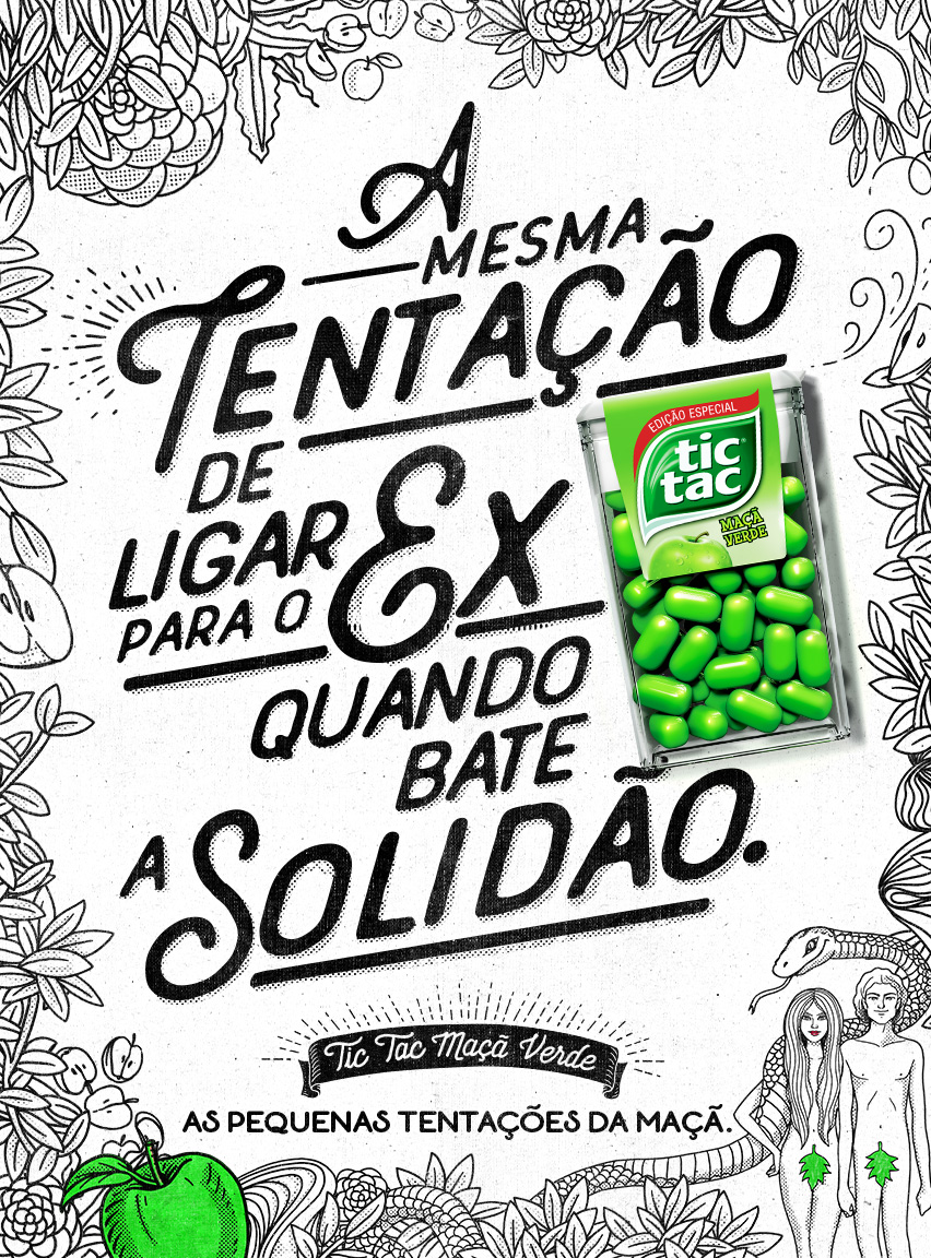 Text:  The same temptation to call the ex-boyfriend when loneliness strikes. Tic Tac Green Apple. The little temptations of the apple.