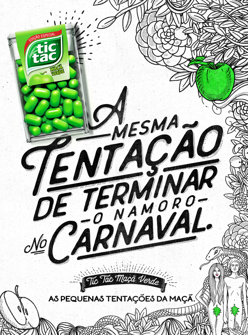 Text:  The same temptation to break up the dating at carnival. Tic Tac Green Apple. The little temptations of the apple.