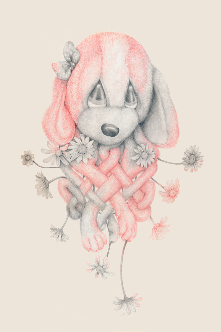 """""""Celtic Puppy (pink)"""" colored pencil, pencil on paper, 17 x 12"""", 2014"""