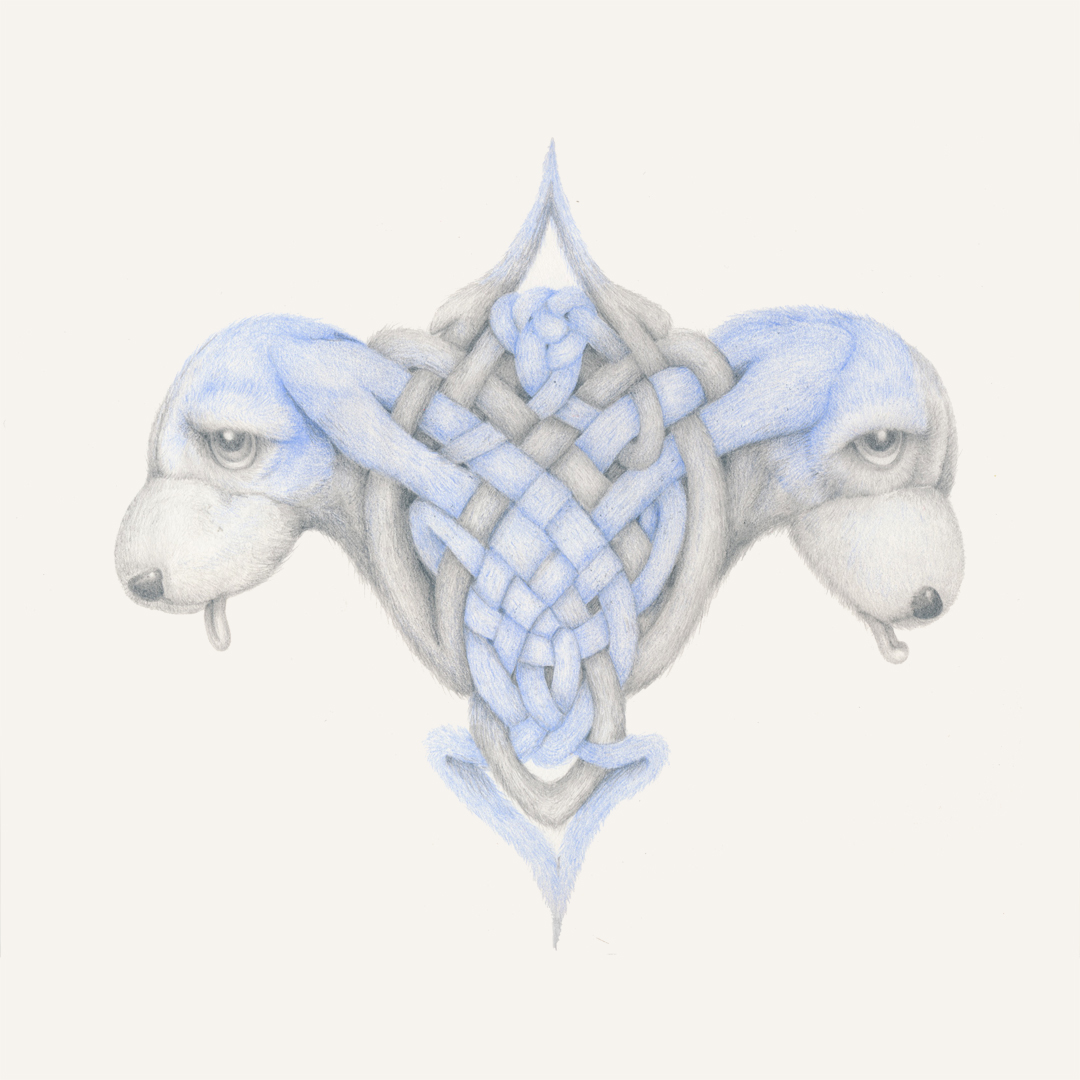 """""""Tribal Puppies"""", colored pencil, pencil, tears on paper, 12 x 12"""", 2014"""