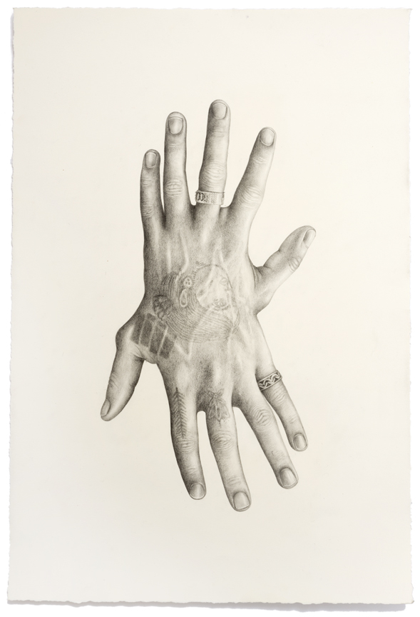 """""""Untitled (Hands)"""" pencil, colored pencil on paper, 21"""" x 14"""", 2014"""