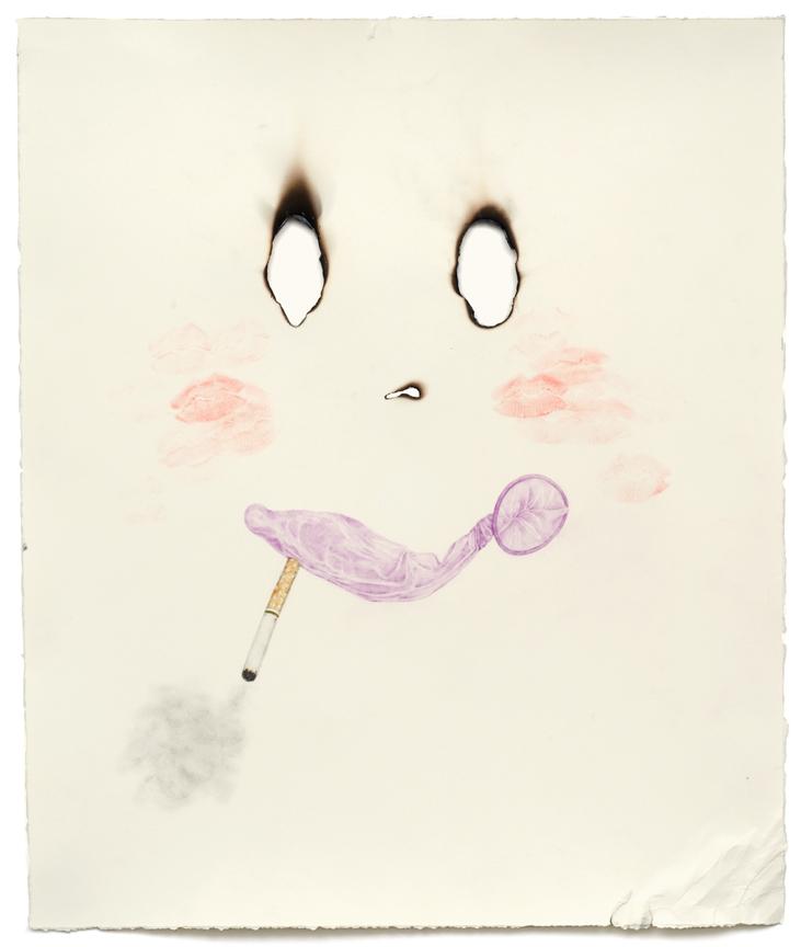 """Captain Cock Bondage"" pencil, colored pencil, acrylic, lipstick on paper, 18"" x 15"", 200"