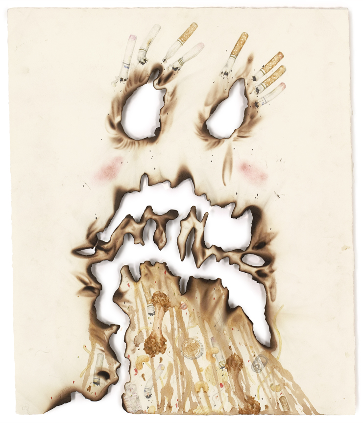 """""""Vomit Comet"""" pencil, colored pencil, acrylic, beer, coffee, dirt on paper, 18"""" x 15"""", 2008"""