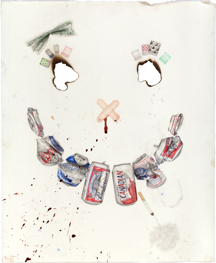 """""""You Used to be Alright, What Happened?"""" pencil, colored pencil, acrylic, blood dirt on paper, 31"""" x 25.5"""", 2009"""