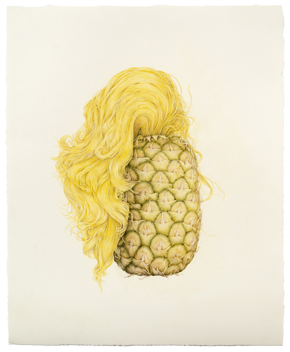 """""""Selfie (Pineapple Hair)"""" colored pencil on paper, 19.5"""" x 16"""", 2013"""