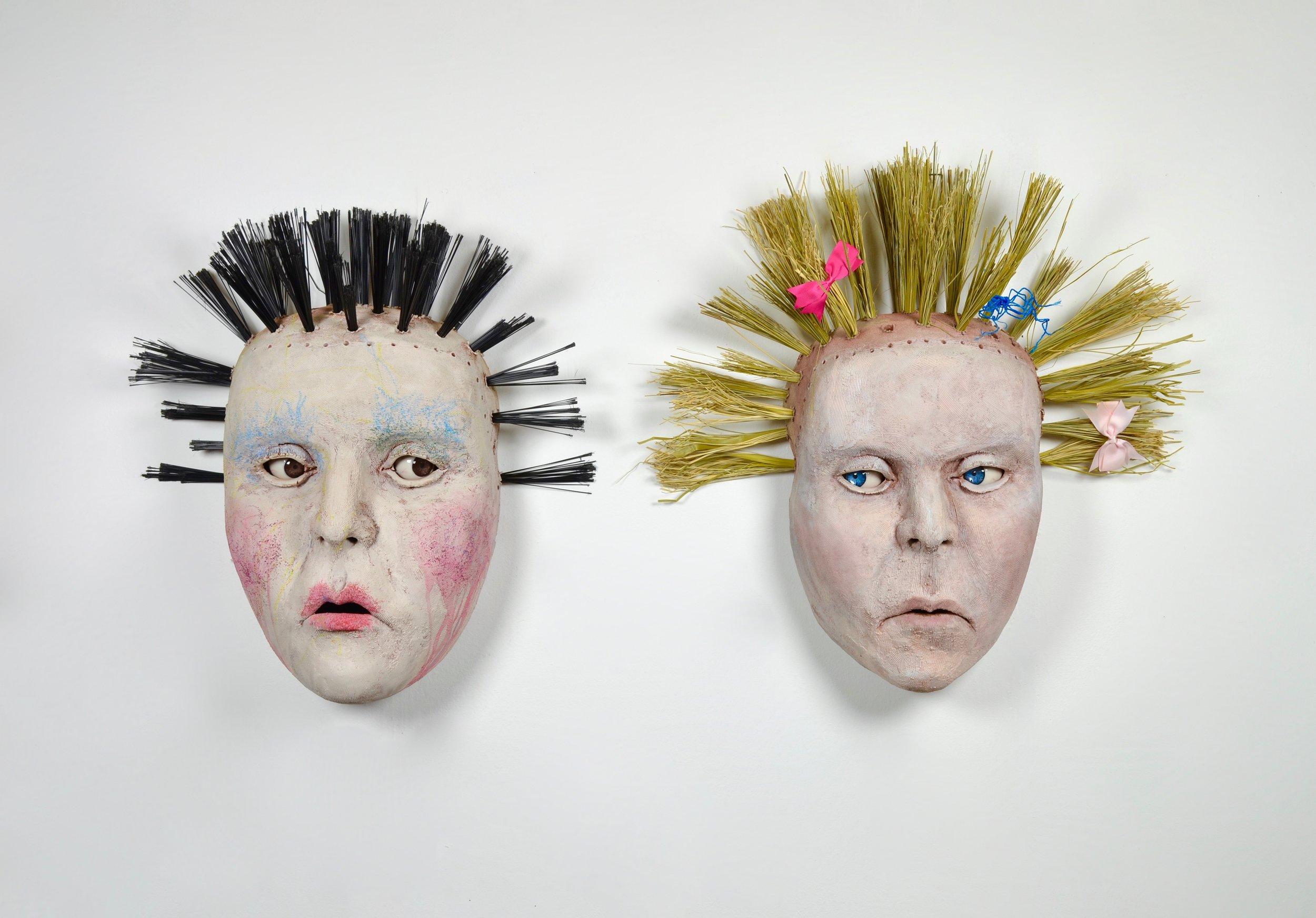 The Barbaras    ^5 stoneware, acrylic, broom bristles, crayon, bows  25 x 50 x 12