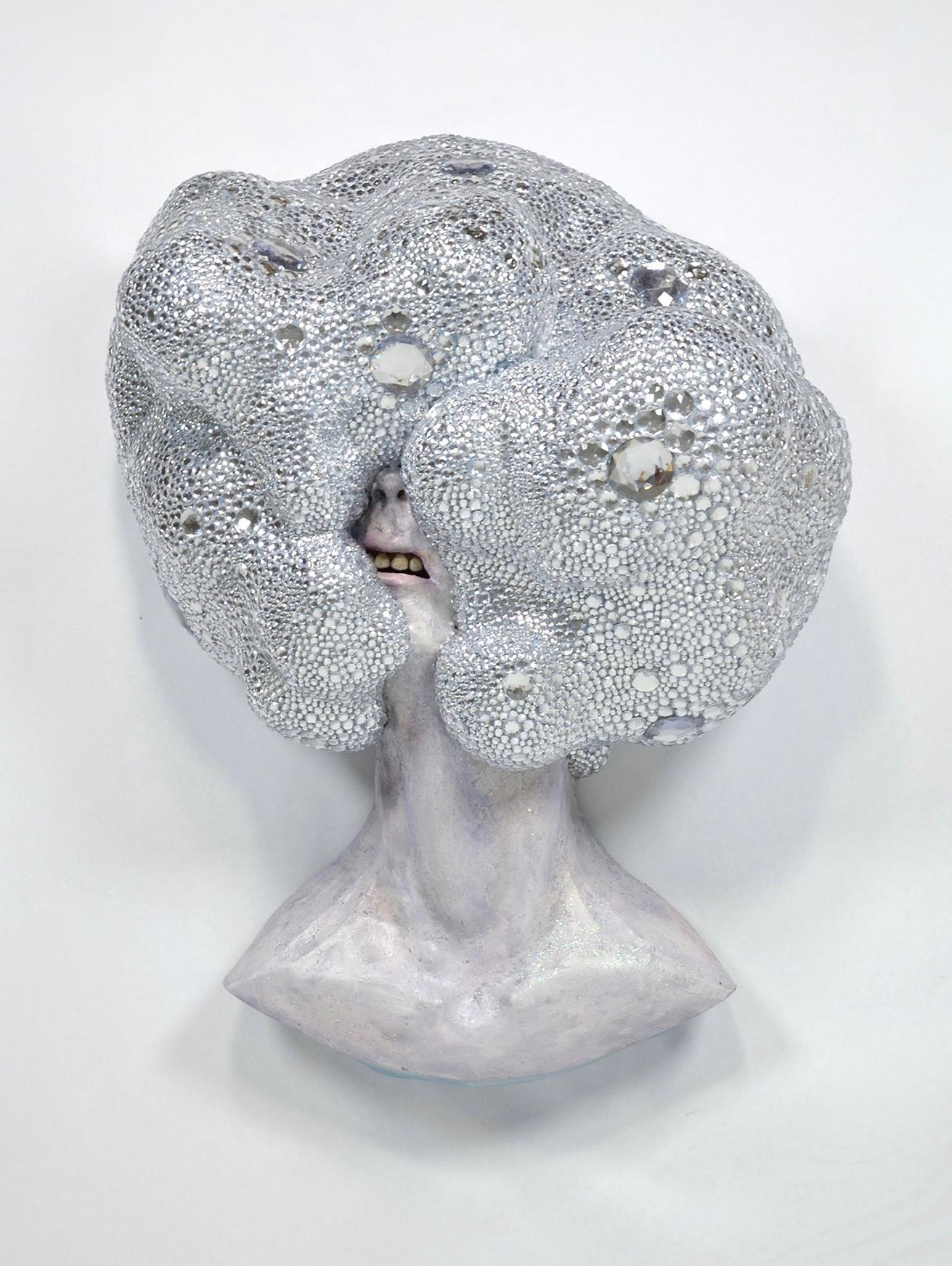 Big Hair #6 (Blinding)    ^5 stoneware, slip, 2 pounds of rhinestones, glitter, acrylic  36 x 27 x 15