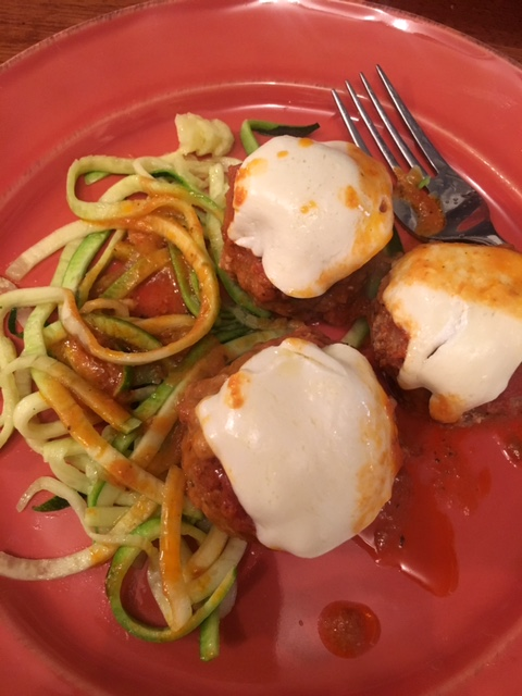 Keto meatballs with a side of zoodles!