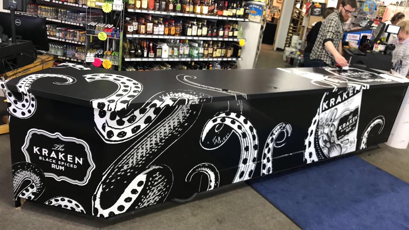 Kraken Counter wrap at Pioppios Liquors Plymouth MA