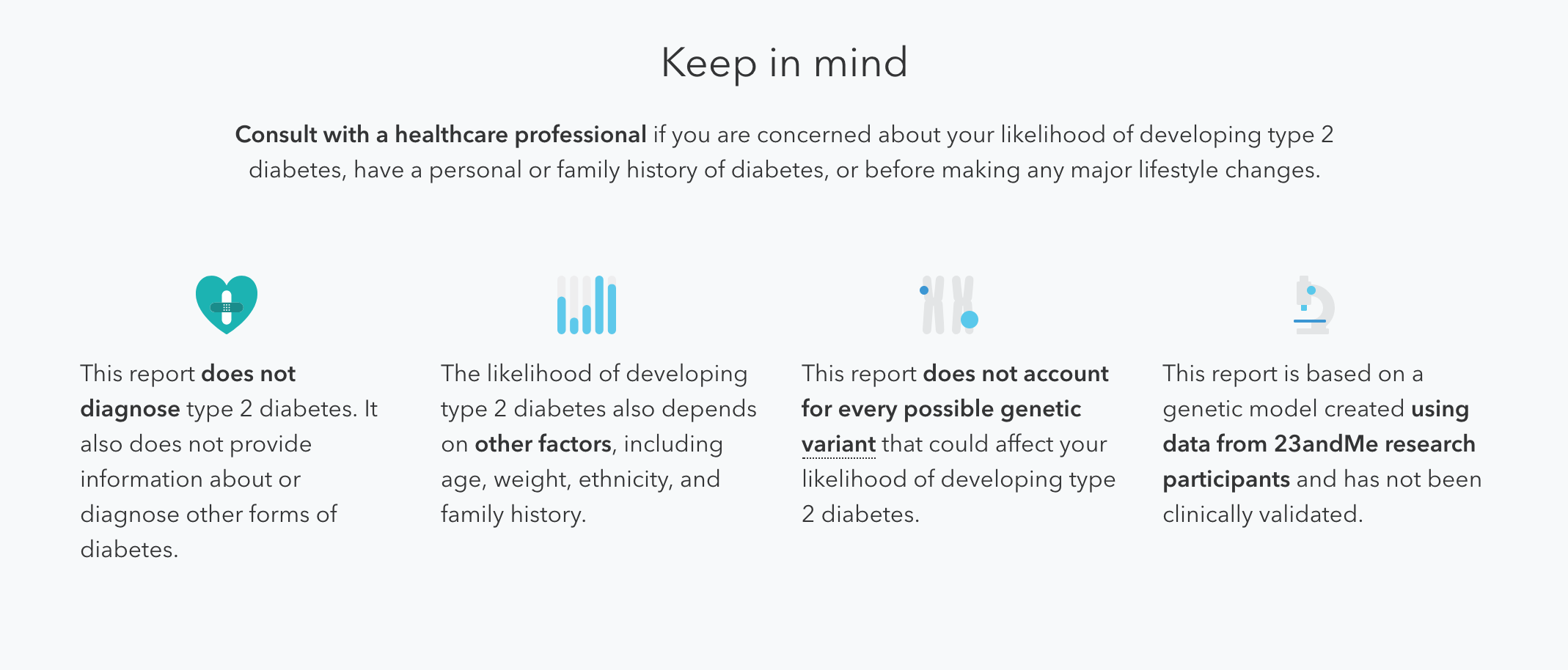 Here's the list of limitations you'll see if you keep scrolling down your 23andMe report.