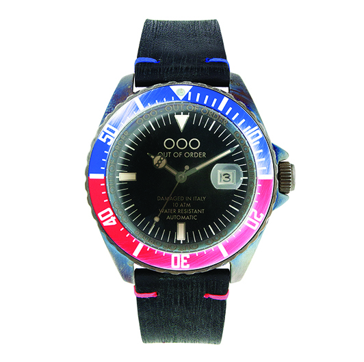 Out Of Order 44mm - Automatic Movement - Red and Blue (Leather Band)