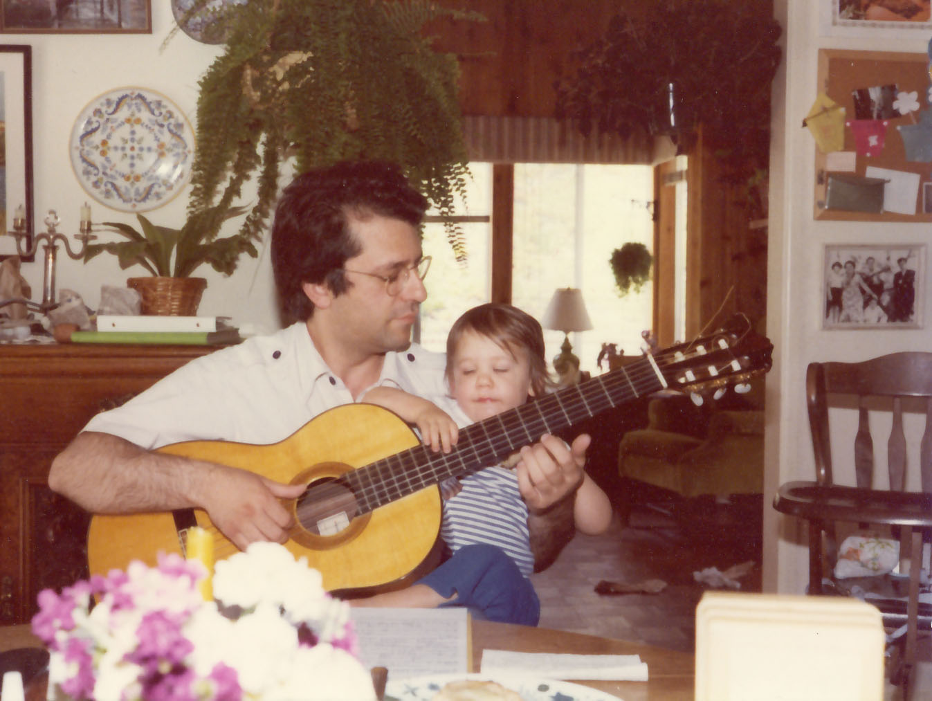 Pepe and son-first guitar lesson 1979