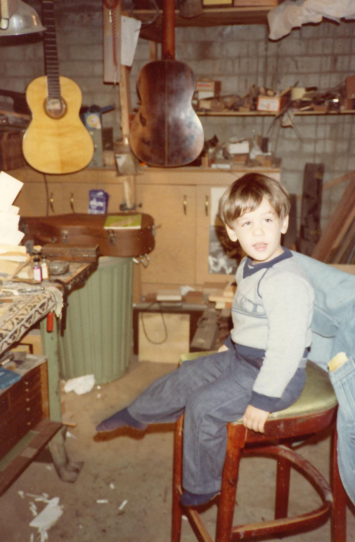 Pepe hijo in guitar shop of Yuris Zeltins 1980