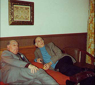 Resting in the hotel after a long day on tour,  Federico Moreno Torroba and Celedonio Romero.