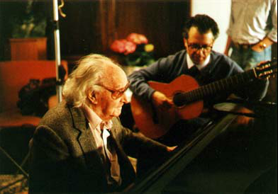 "Joaquin Rodrigo and Pepe during filming of ""Shadows and Light."""