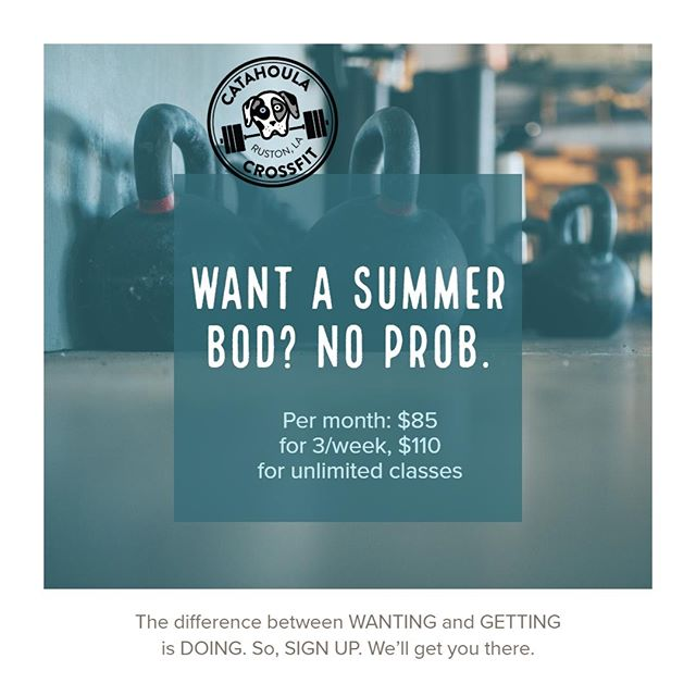SIGN UP @ www.catahoulacrossfit.com. NO CONTRACTS, month-to-month only. What have you got to lose? Oh, just weight, and inches, and anxiety, and nagging illnesses, and self-doubt, and... #catahoulacrossfit #crossfitkids #fitfamily #ruston #rustonlouisiana #grambling #latech