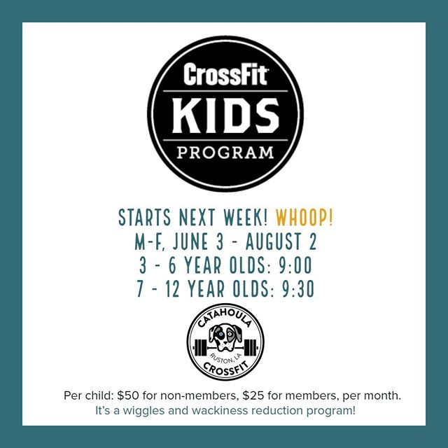 SIGN UP your children @ www.catahoulacrossfit.com. What is YOUR summer sanity worth? Certified trainers, quality programming. Kids are meant to be active, and active learners! NO CONTRACTS, month-to-month only. #catahoulacrossfit #crossfitkids #fitfamily #ruston #rustonlouisiana #grambling #latech