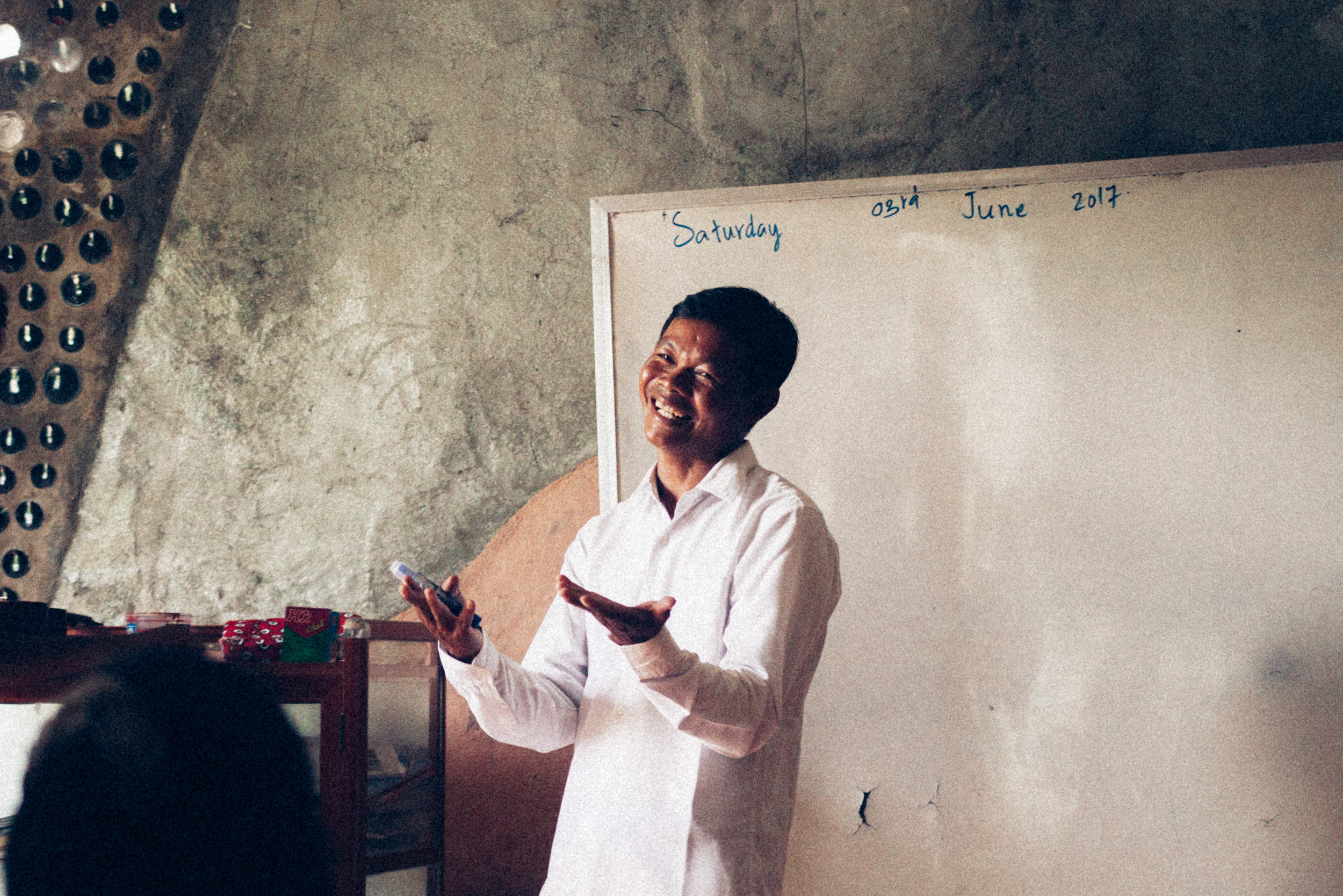 Our English teacher Saophi(when our volunteers aren't around), and other subjects for the morning and afternoon classes.