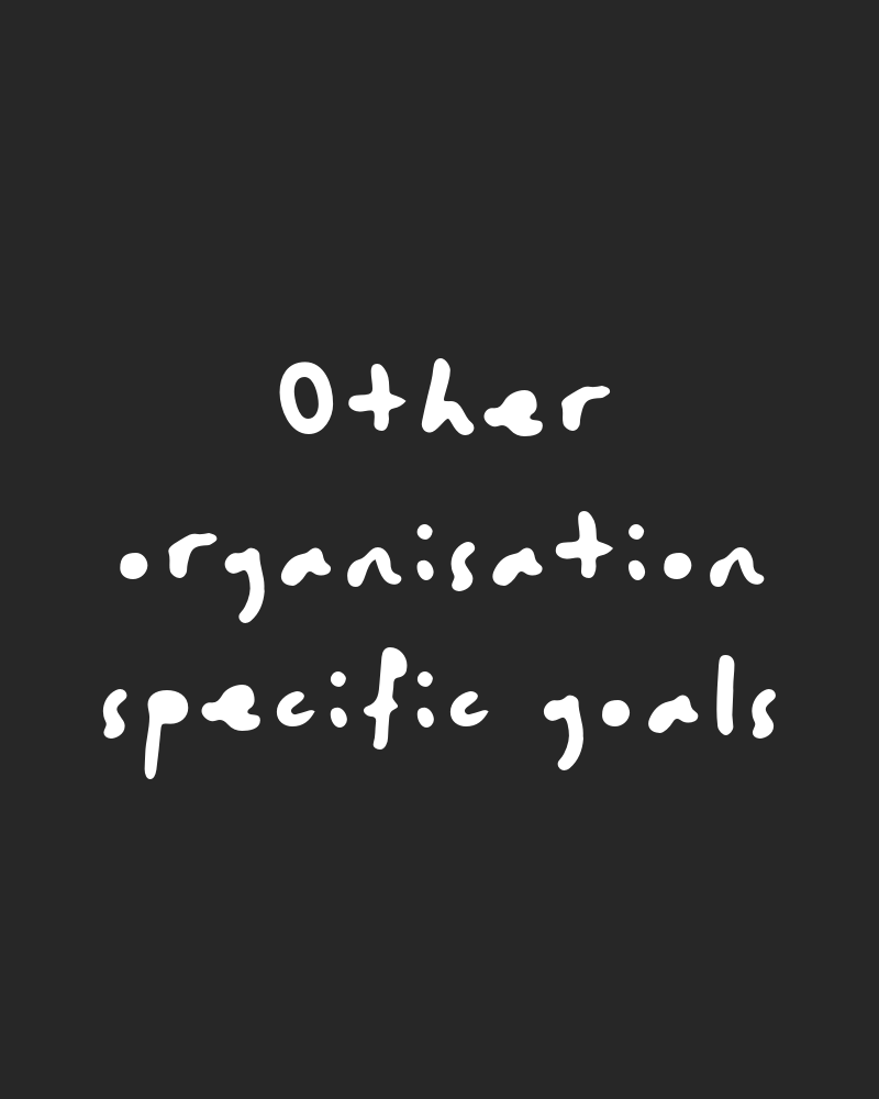 Other organisation-specific goals - You might find that when you're working through these pillars there is another angle to what you want to do with your CSR that isn't fitting neatly in one of our pillars. That's fine - just add your own to this base. There's no hard and fast rule around what counts and what doesn't, so treat it as its own pillar and go from there.An example might be: your organisation might be going above and beyond compliance level for health and safety or be giving really good benefits for its people, and you could count that here if you like. We don't because we treat these things as more HR commitments - BUT - you can position them how you like.