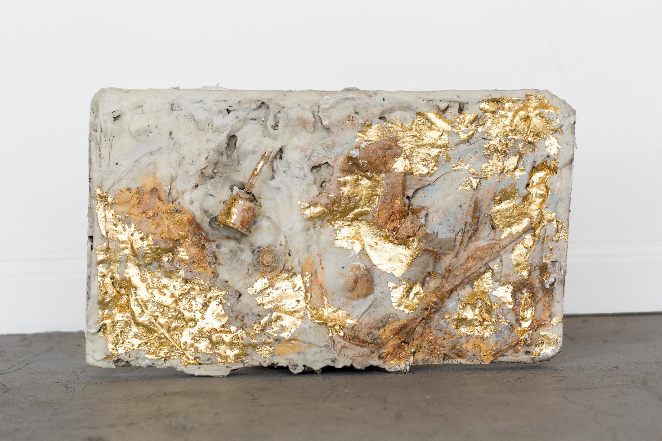 "Leaving #3                                                                                                                       11"" x 17""  Plaster, Encaustic Medium, Gold Leaf"