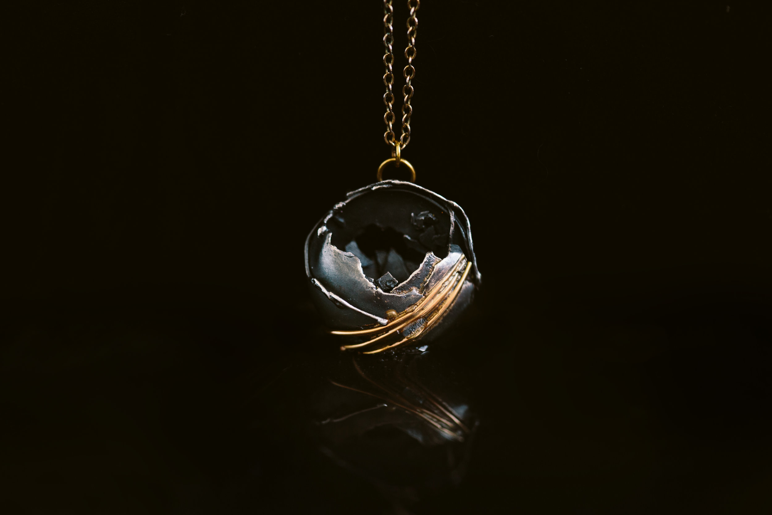 Argentium Silver, 14k Gold Pendant