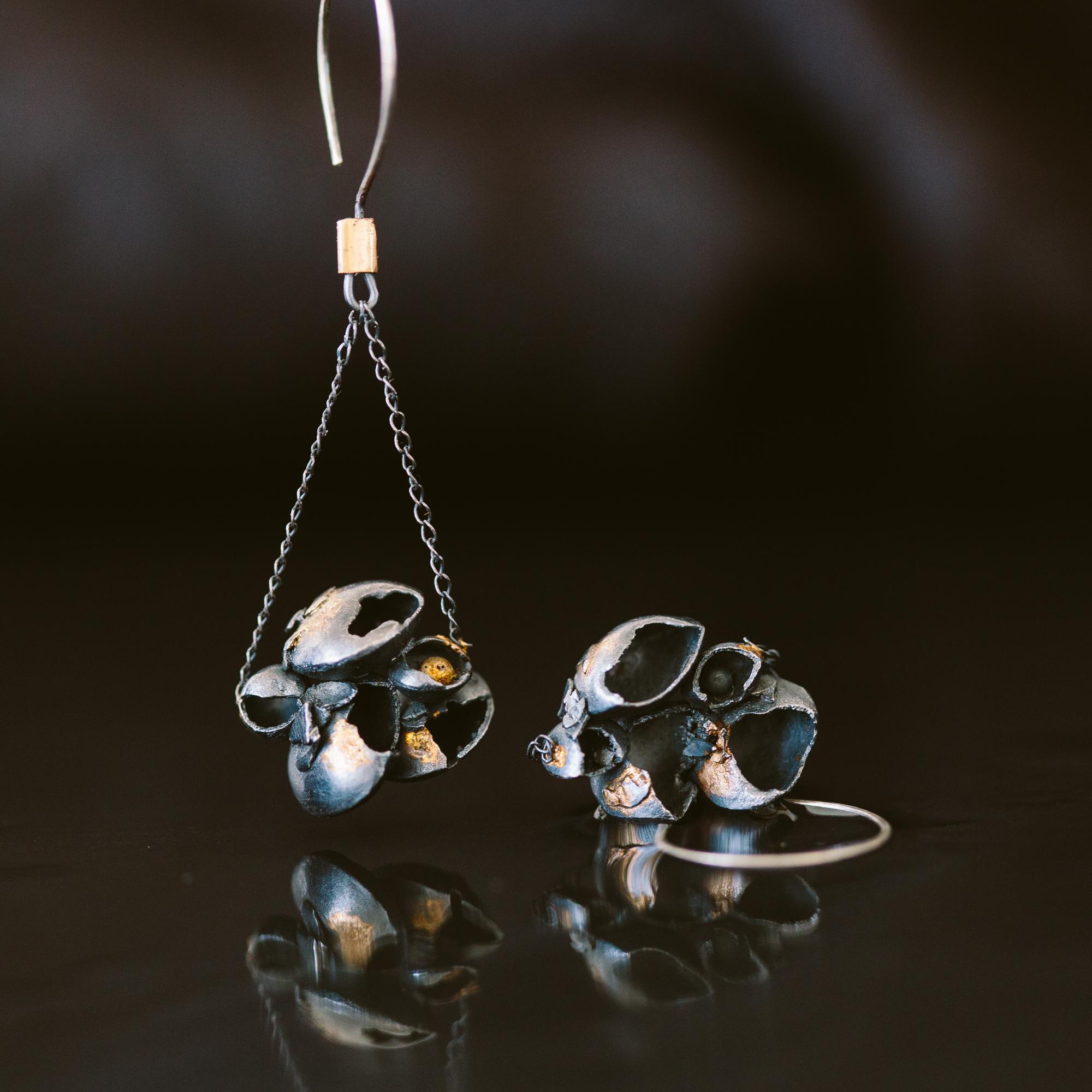Argentium Silver, 18k Gold Earrings