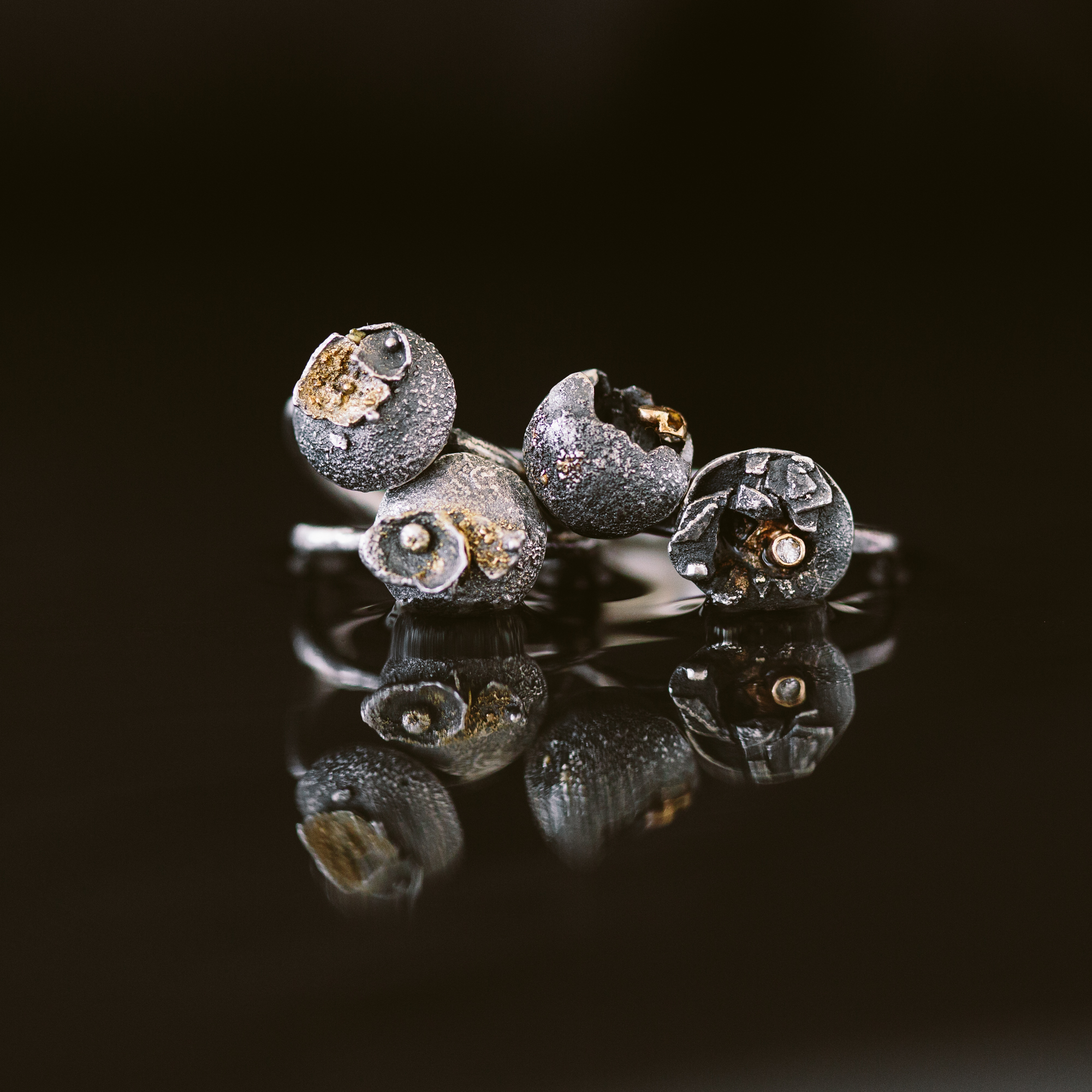 Argentium Silver, 18k Gold, Diamond Rings