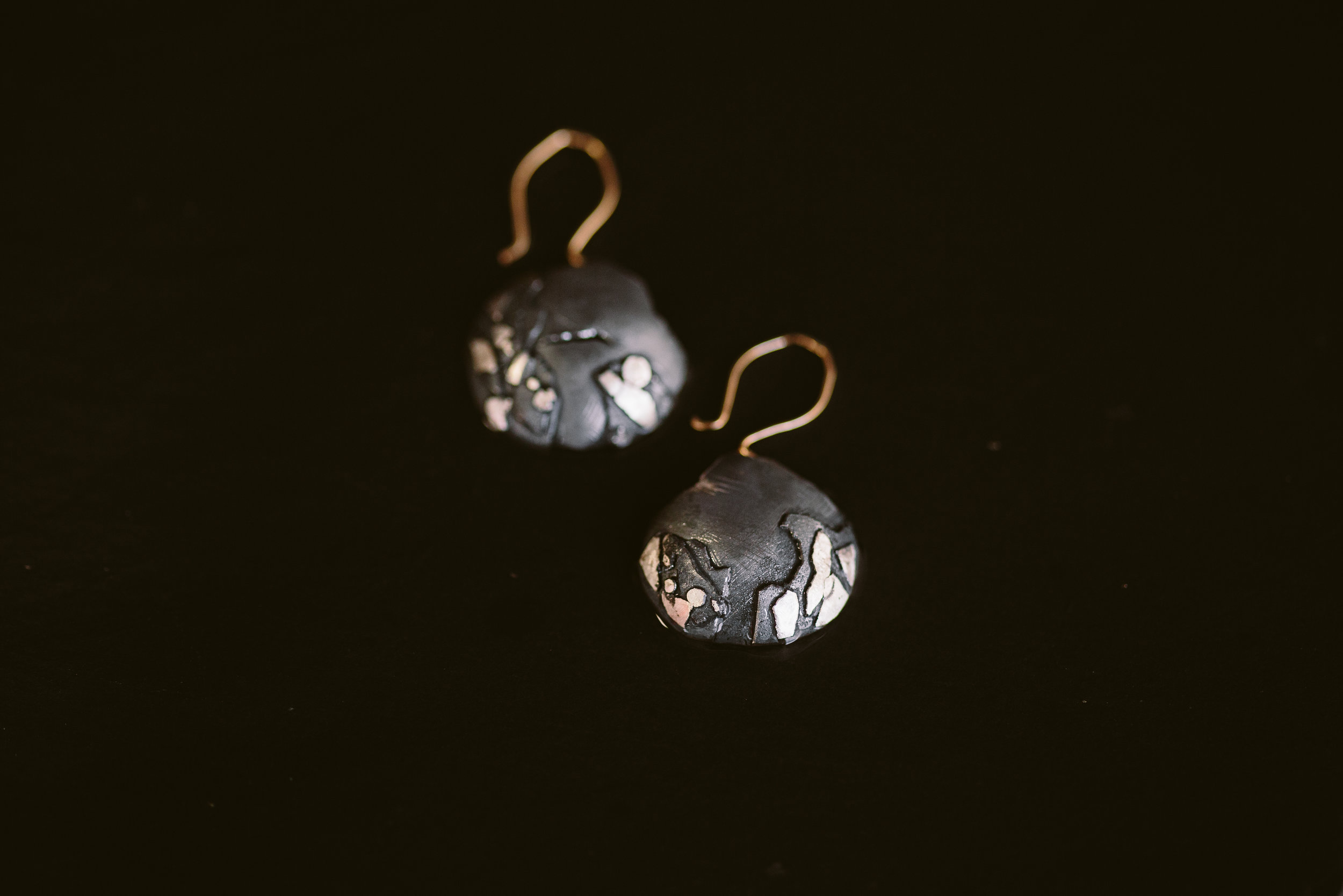 Argentium Silver and 14k Gold Earrings