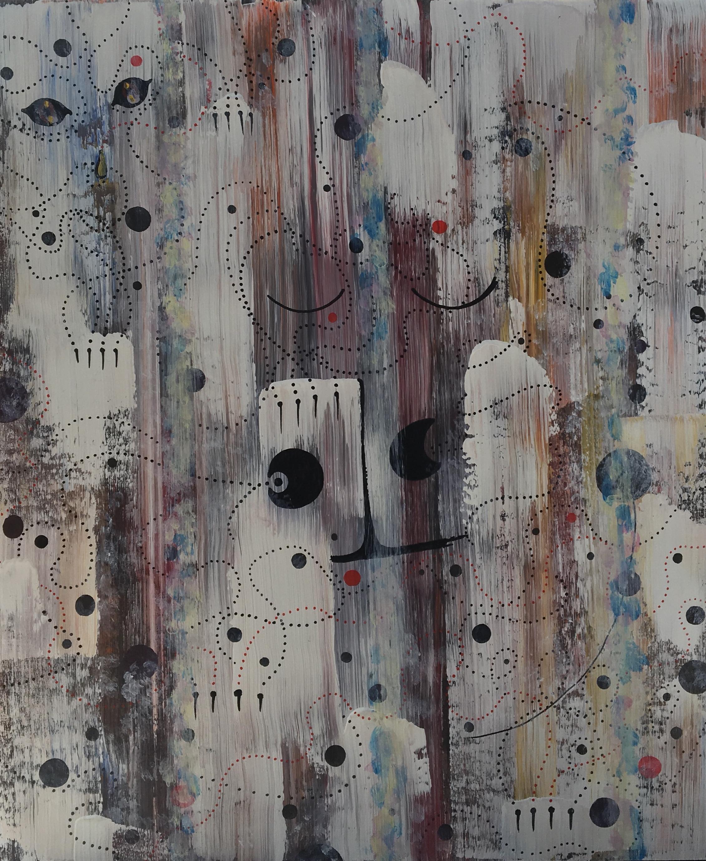 Raining Cats & Dogs  2019 - 24 X 20 Acrylic on Panel