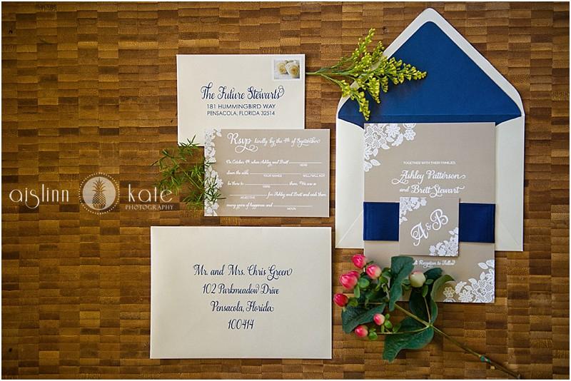 ashley and brett - custom wedding invitation design - pensacola country club wedding - aislinn kate photography - grace and serendipity