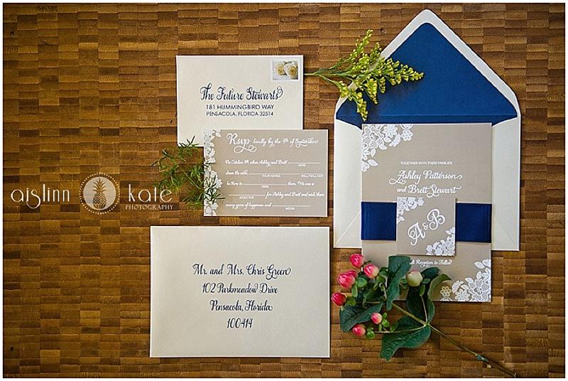 ashley and brett - custom wedding invitation design - pensacola country club wedding - grace and serendipity