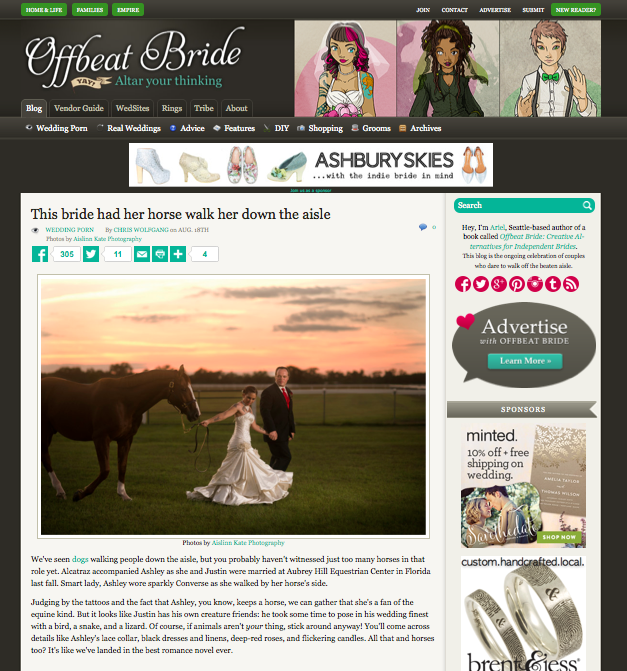 grace and serendipity - featured in offbeat bride -  ashley and justins equestrian aubrey hill wedding