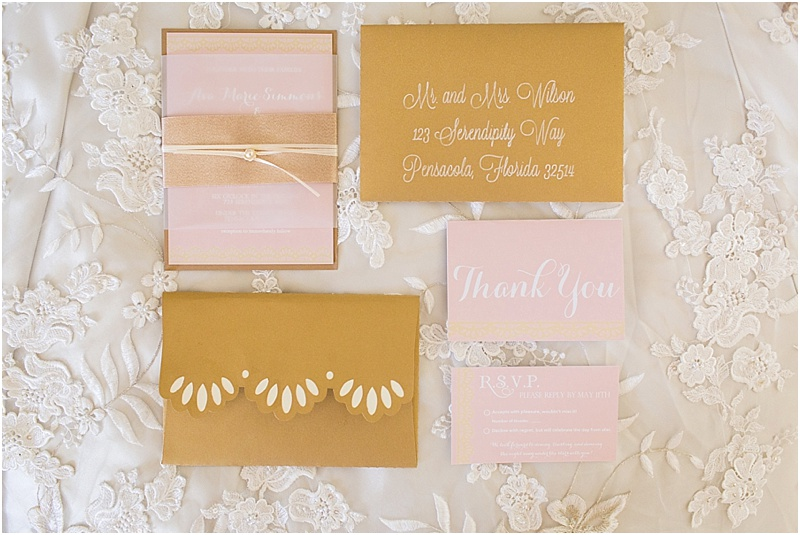 grace and serendipity, ashley victoria photography, fiore  - the lacy oyster - pink, blush and gold invitation suite