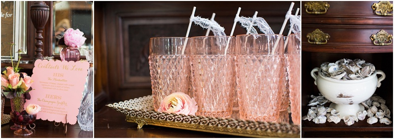 grace and serendipity, ashley victoria photography, fiore  - the lacy oyster - cocktail station with pink vintage glasses and lace drink flags