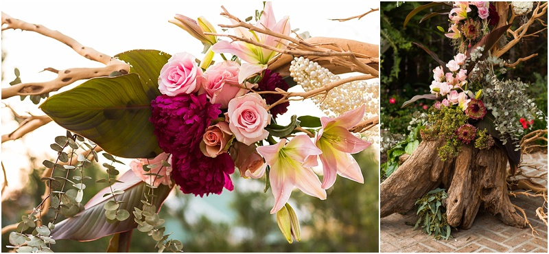 grace and serendipity, ashley victoria photograpy, fiore - the lacy oyster - one sided arch with crepe myrtle, reds, pinks, pearls and flowers