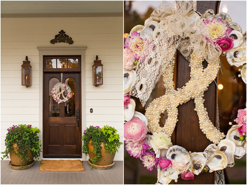 grace and serendipity, fiore, ashley victoria photography  - the lacy oyster - pensacola wedding styled shoot - oyster wreath with pearl details and floral clusters of pink, red, and more