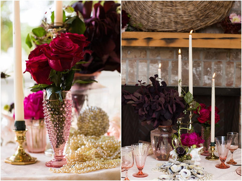 grace and serendipity, fiore, ashley victoria photography  - the lacy oyster - pensacola wedding styled shoot - intimate dinner setting with pink flowers, pearl pomander, roses, zinnias, dahlias, and lace tablecloth, and tapered candles sweetheart table, bride and groom oyster placecards