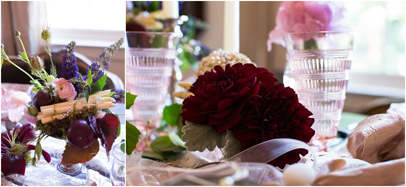 grace and serendipity, fiore, ashley victoria photography  - the lacy oyster - pensacola wedding styled shoot - intimate dinner setting with pink flowers, pearl pomander, roses, zinnias, dahlias, and more