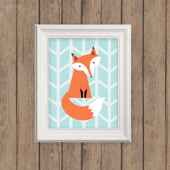 fox nursery woodland print