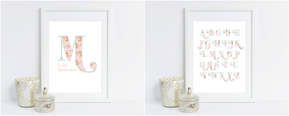 grace and serendipity - alphabet prints - garden alphabet and personalized name - pink and blue