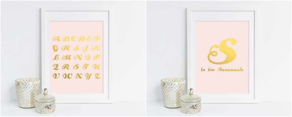 grace and serendipity - gold foil personalized name and alphabet prints - pink and blue
