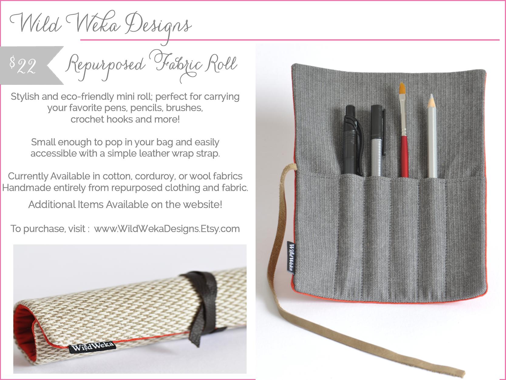 wild weka designs - pencil roll - shop small