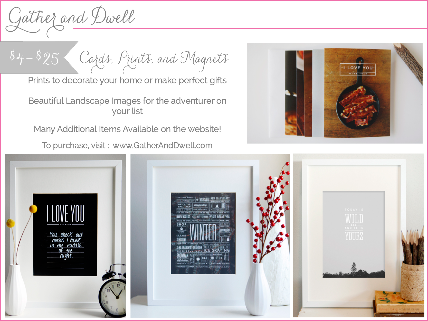 gather and dwell - prints and cards - shop small