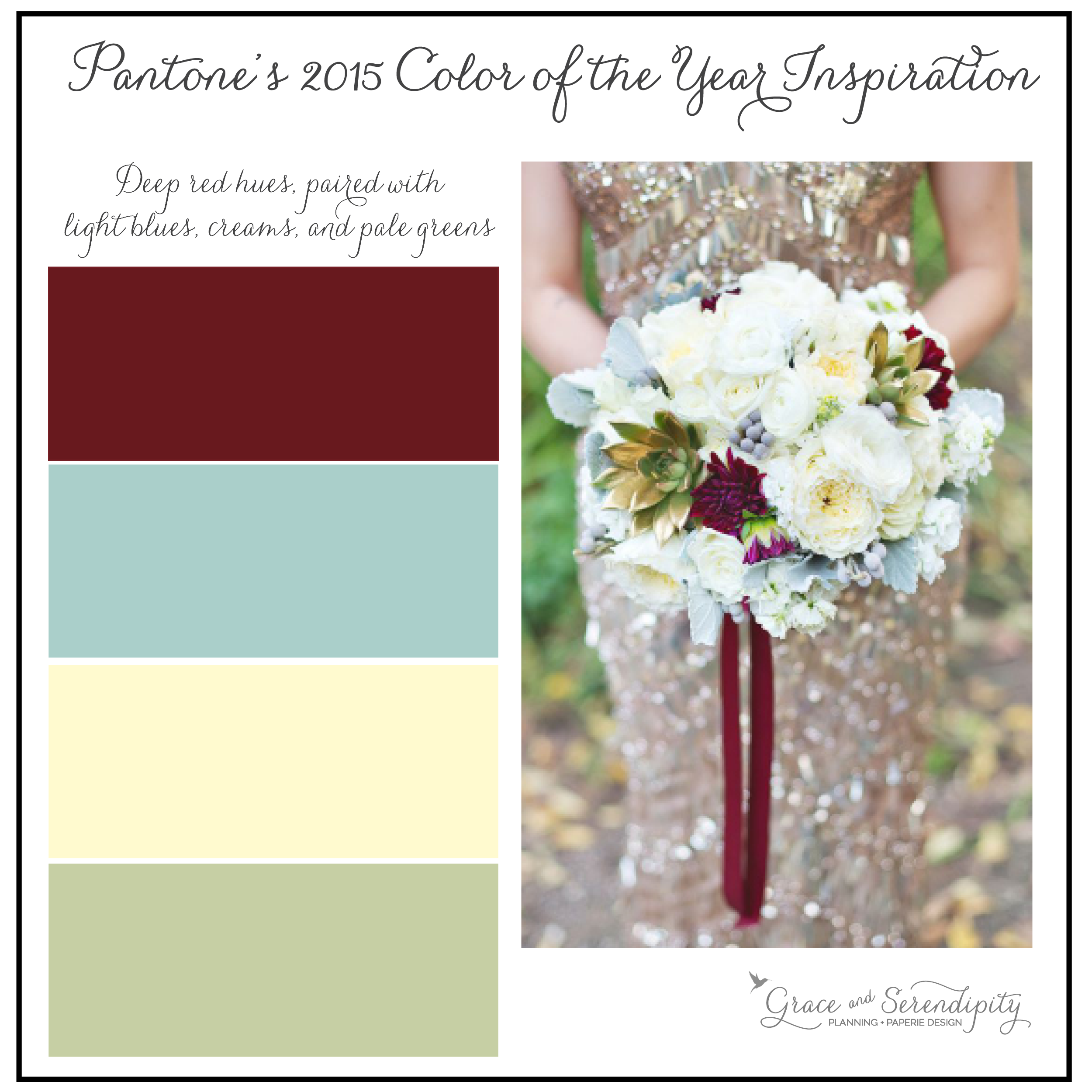 grace and serendipity - marsala inspiration board - burgundy, mint, cream, green